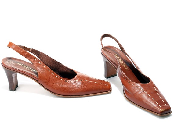 Mules Footwear Heels Eur Retro Slide Made Leather Toe Shoes Heels Italy On Mules Slingback Uk 8 Square Leather 90s 39 size Brown 6 in 5 US Bfw1UPxx