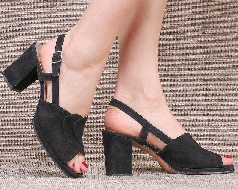 a0258d93dd57d US 7.5 Black Platform Suede Sandals 70s Black Chunky Retro Heels Vintage  High Block Heel Disco Shoes Ankle Strap Platforms. EUR 38.5 UK 5