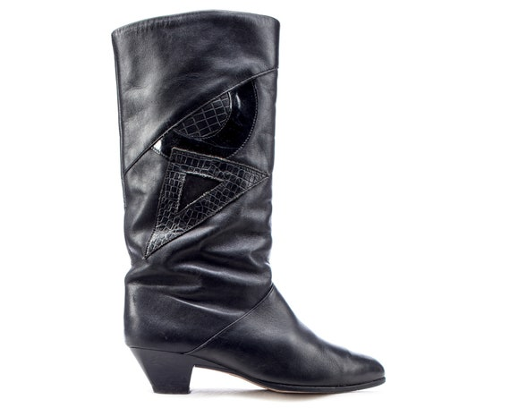 Us 6.5 Slouchy Leather Boots 80s Cone Heel Tall Vi