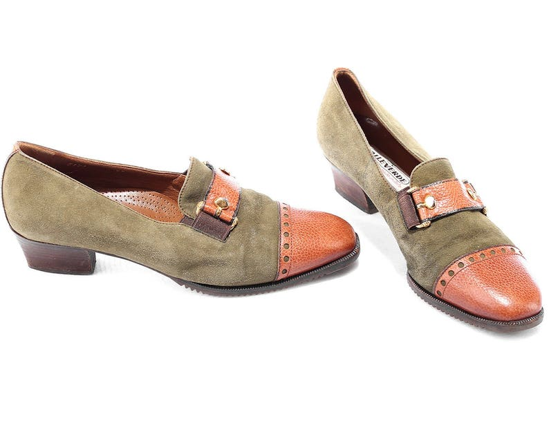 4183b576accfe US 5 Boho Shoes Loafers 80s Suede Leather Two Tone Shoes Slippers Brown  Moss Green Cap Toe Europe Quality Flats, UK 3, Eur 36 sku 3979