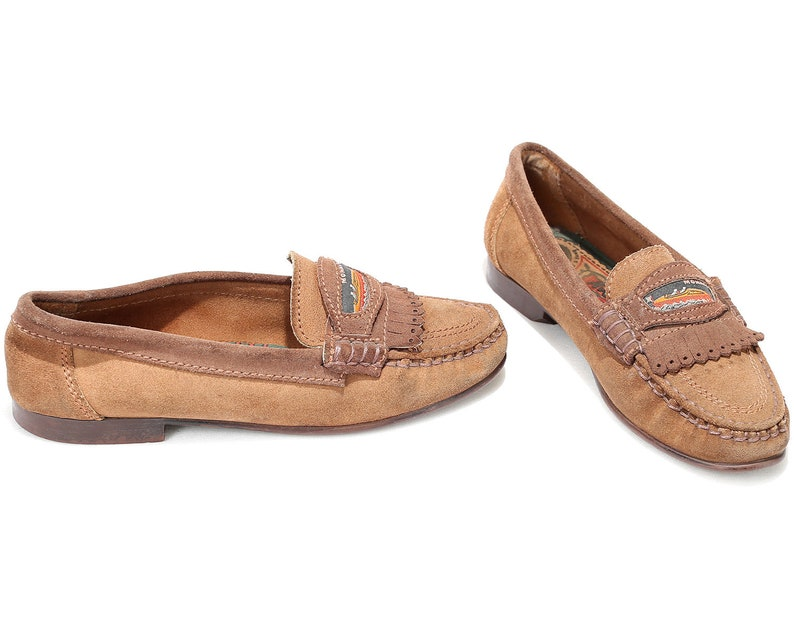 8882167ddf9db US women 8.5 Suede Driver Shoes Loafers Moccasins 80s Vintage Wide Fit  Brown Comfortable Casual Footwear Made in Italy Flats . Eur 39 Uk 6