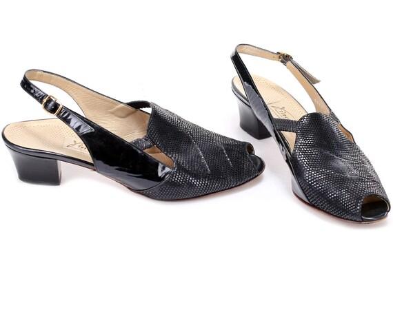 68927107aece US size 10.5 Slingback Sandals Vintage Patent Black Soft