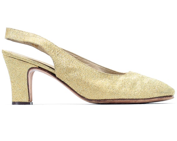 Gold UK Gold Outfit Vintage 38 Ladies Party Heels 5 NYE Heels Brocade 70s 5 5 Slingback size Glamorous Opera Heels 8 Evening Shoes US Eur axwqEB4CB