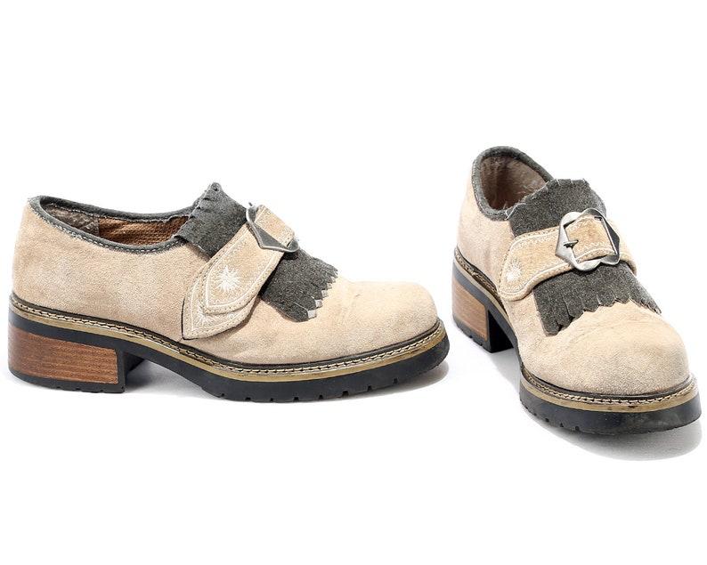 c17b83be4e9ed Us Men 8 Platform Monk Strap Shoes Loafers 80s Beige Suede Bavarian  Oktoberfest Slip On Flats 1980s Wide Fit Vintage UK 7.5 EUR 41.5