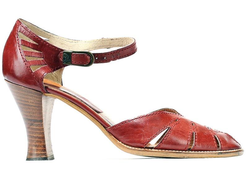 1556f3a52af46 US 8 Boho Heeled Huarache Sandals 70s Open Sides Heels Retro 1970s Leather  Vintage Stacked Heel Wide Fit Brown Women Shoes . EUR 38.5 UK 5.5