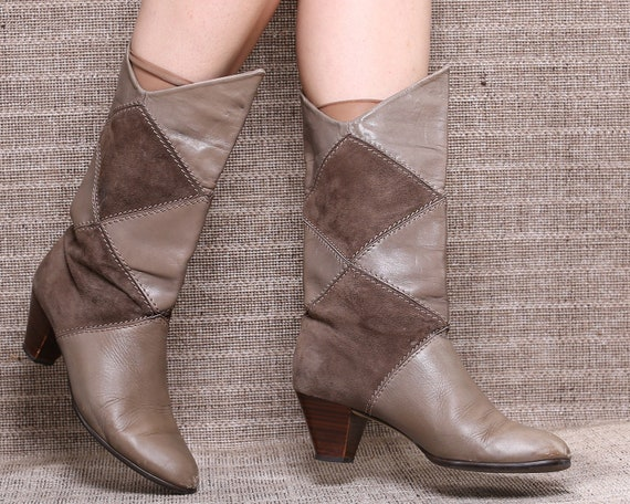 8a0921014b94 US size 8.5 Slouch Cone Heel Boots 80s Patchwork Wide Fit