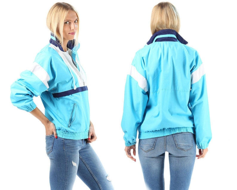 Blue Track Jacket Unisex 80s Turtleneck Blue White Navy Color Block Work Out Shell Bomber Athletic Sports Tracksuit Top Relaxed Fit Medium