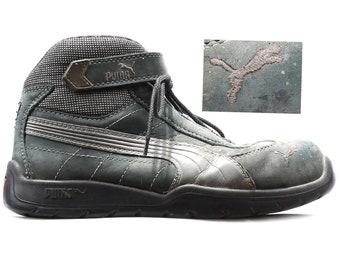 Steel Toe Work Boots Hi Top Sneakers 90s Mountain Boots Faded Distressed Suede Nylon PUMA Hi Top Boots Gray Steel Toe US men 8 U 41, UK 7.5