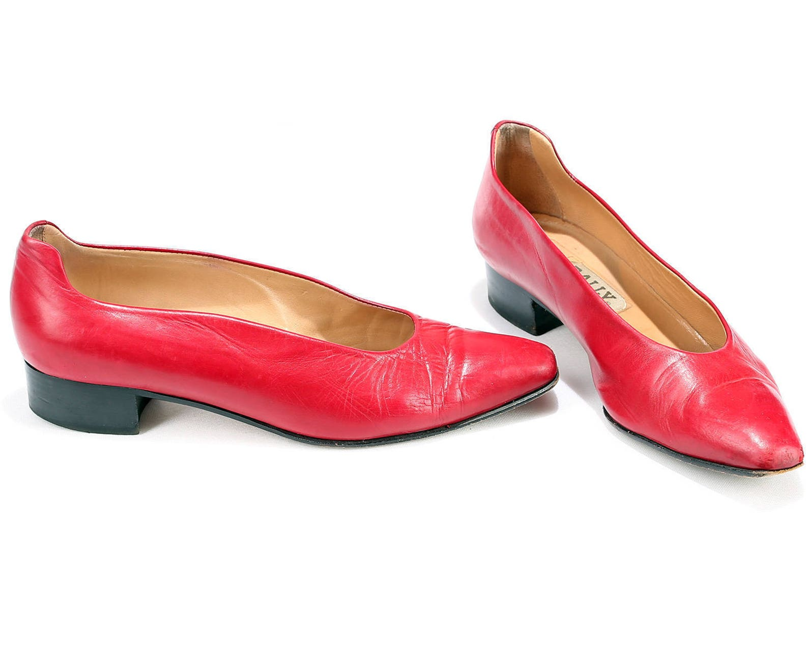 size 6.5 red ballet shoes 80s leather mod low heel slip on european quality bally burgundy leather shoes 1980s eur 37 , us 6.5 ,