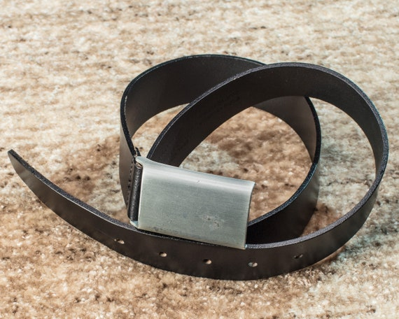 Distressed Leather Belt 80s High Waist Slim Men Black Belt Real Thick Leather Silver Metal Buckle Deep Black Classy 80-89 cm 35-37 in