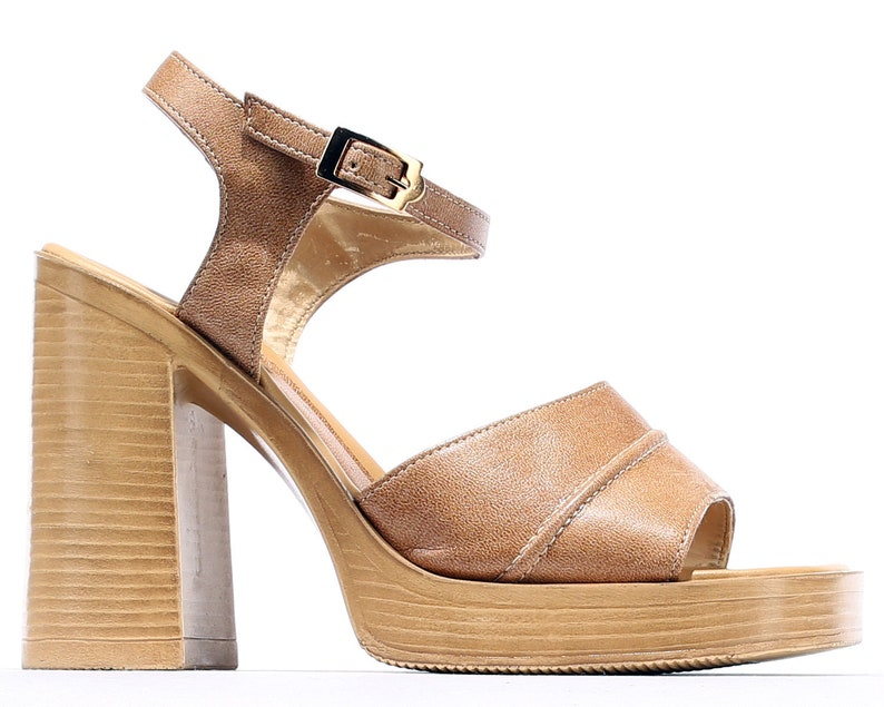 f1509da5e4519a Size Us 6.5 Leather PLATFORM Sandals 70s Beige Leather Chunky