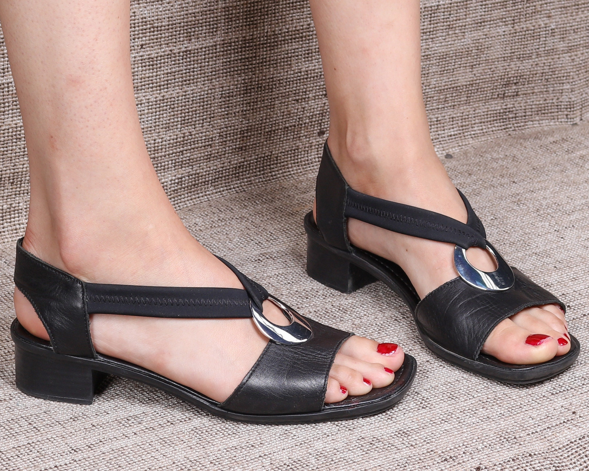 Us 8.5 Ankle Strap Sandals 90s Block Heel Vintage Chunky Block Stable Heel Black Real Leather Italian made Square Open Toe UK 6 EUR 39