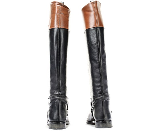 Two Vintage US High 36 Leather Knee women Boots Black Eur Boots Equestrian Tone Tall Boots 3 5 5 90s Quality Boots High Brown Uk Riding nr7qXBrAH