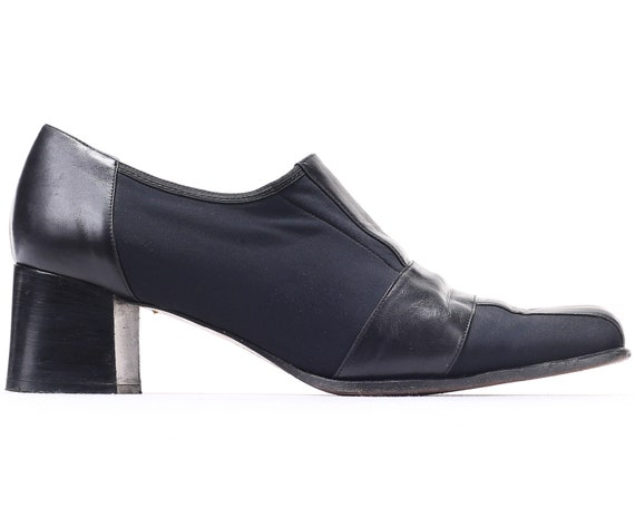Block Fit Upper Leather Wide Toe Textile women EUR 8 Stretchy Square Sole and Heel Black Chunky 10 90s US UK 42 Leather Ankle Shoes wOtU7q7