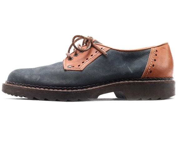US men 8 Blue Brogue Shoes 80s Lace Up Derby Oxfor