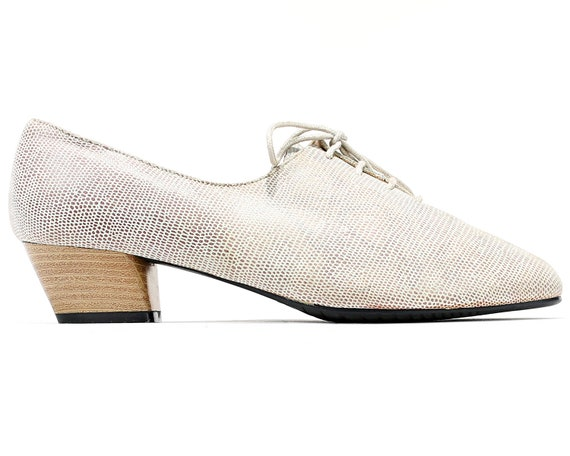 EU 38 Oxfords Shoes Retro 80s Lace Up Pale Grey Le
