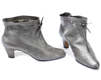 US size 6.5 Metallic Grey Boots Vintage Heeled Ankle Boots Drawstring 90s Chic Ladies Boots Soft Slouchy Leather Boots . Eur 37 UK 4
