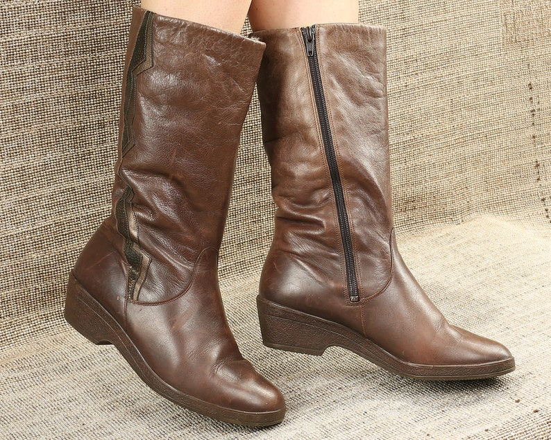 98ba5e487d56 US size 8 Slouch Wedge Sole Boots 80s Brown Leather Tall Boots