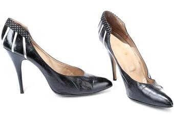 US women 12 Black Stiletto Heels Pointed Toe Vintage High Heels 90s Wide Fit Women Large Shoes Classic Black Leather Pumps . EUR 43 UK 10