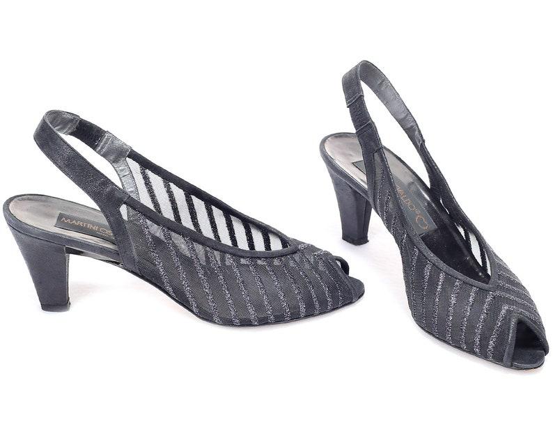 cd2185f4573ba US 6.5 Sheer Mesh Shoes 80s Black Vintage Heels Lightweight Slingback  Silver Threaded Leather Sole Peep Toe Italy Made . EUR 37 UK 4
