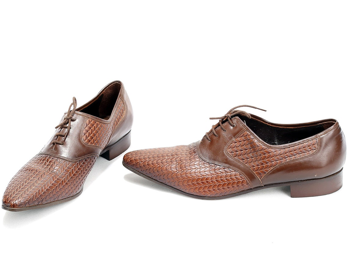 US Men 8,5 Retro Pointed Oxfords WOVEN 60s . Themed Party Shoes Brown Leather Retro 1960s Gift for Men . sz  Eur 42 , Uk 8
