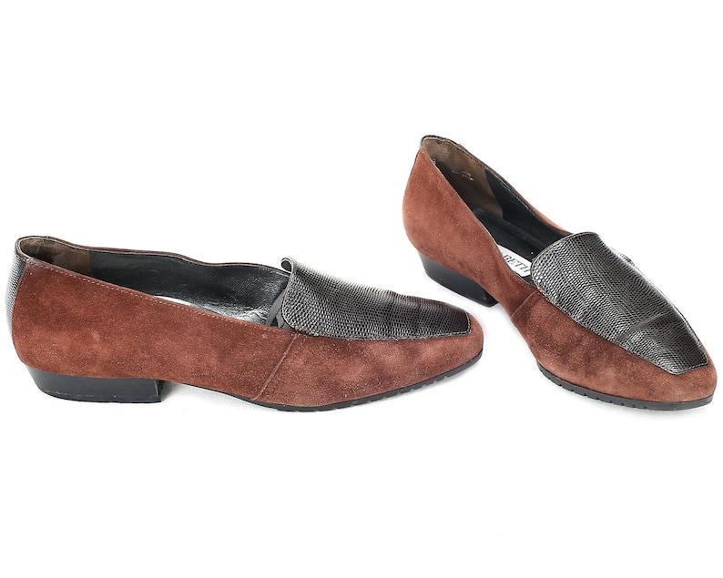 de98e40a492c1 US women 6.5 Brown Suede Flats 80s Vintage Wide Fit Almond Toe Flats Women  Elegant Loafers Casual Footwear Made in Italy . Eur 37 Uk 4