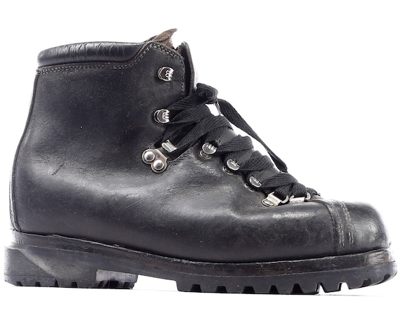 Hiking Boots Military Eur Work COMBAT Boots 70s Us 8 41 1970s Leather 5 7 Military men Footwear UK Logger Ankle Vintage Black ZYqxwCptWB
