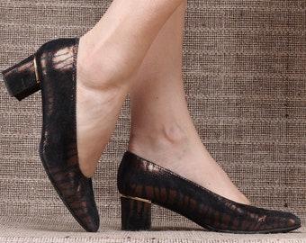 US 7 Vintage Heels Pumps 70s Luxury Snakeskin Patterned Bronze Brown Metallic Leather Office Shoes  Elegant European Heels Uk 4.5 Eur 37.5