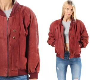 Suede Bomber Jacket 90s Burgundy Red Leather Suede Men Women Unisex 90s Grunge Coat Zip Up Flight Aviator Raglan Sleeves Oversized Large
