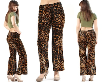 Y2K Flare Leopard Pants . Bell Bottoms Pants High Waisted Trouser FAUX FUR Animal Flared Club Wear Vintage Rave Pants . Medium