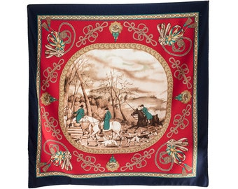 Royal Red Scarf 70s HUNTING Print Scarf Royal Equestrian Dog Horse Shawl Red Beige Navy Luxury Neckerchief Unisex Neckwear Gift For Wife