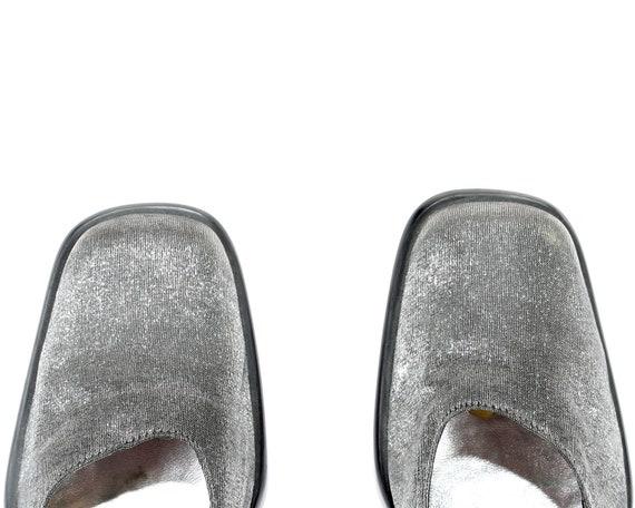 Heels Textile Wedding Shoes 6 Shoes Vintage Jane 5 Metallic 60s Heel 39 Mary US women Strap Party 8 Uk Silver Heels Retro Block Eur HaUSqnZwxn