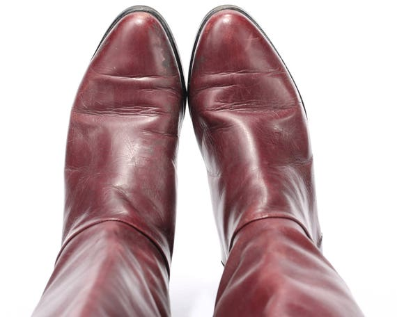 Leather 37 80s 4 size Heel Tall 6 Boots Burgundy UK High EUR 5 Low US women Boots Knee Pull Leather Over Red Flat Equestrian Minimal Quality 5Tg4wW0qnx