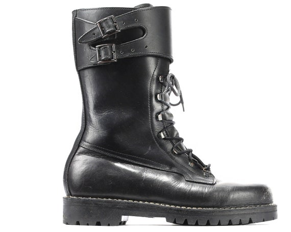 Boots Chunky Leather Underground Army Mens US 10 UK Rock Thick Combat Punk 11 5 Platform Eur Black Military Boots 45 Biker 80s 76qPx64A