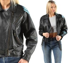 Motorcycle Jacket BOYFRIEND Leather Biker 80s Black Crop Punk Rock Coat Short Moto Unisex Blazer Women Hipster Side Zip Medium SKU 5642