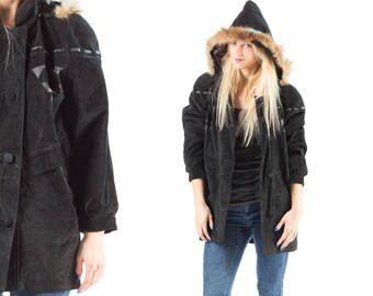 Hooded Suede Parka Jacket 80s Vintage Hooded Fox Fur Trim Hoodie Leather Details Quilted Lining Pockets Faded Black Suede Coat Large