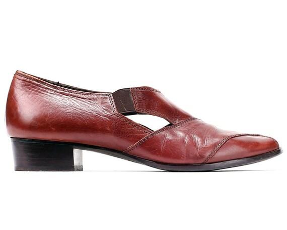 Footwear Low Brown Sandals US Peep Out Heel EUR Vintage 7 5 Retro Toe Leather 9 women 90s Cut Shoes Boho Sandals UK Ons Slip 40 77wC4Taq