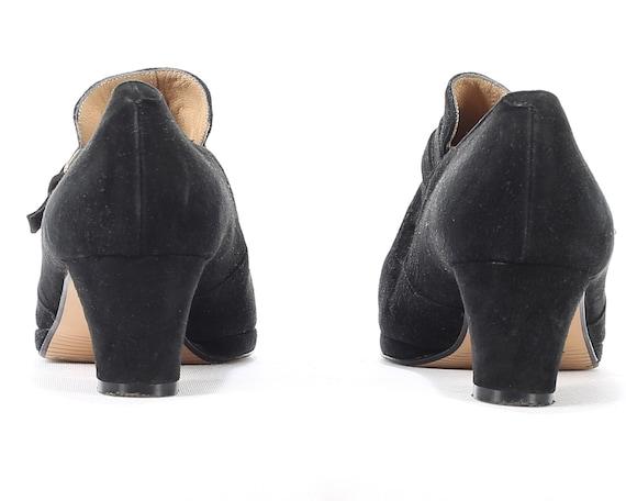 60s Eur Flat 5 Italian Shoes Heels Black Strap 5 Leather Retro Vintage Suede Victorian 7 Granny size Shoes 38 1960s Monk Wedding Uk xqA51ZInw