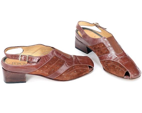 2584c3b0f0b9 Us size 9 Brown Mules Sandals 70s Hand Made Italian Block