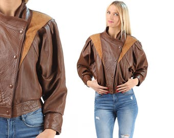 Retro Leather BOMBER Jacket 80s Ladies Rocker Biker Suede Cropped  Button Up Brown Short Coat Motorcycle Hipster Italy Made Medium