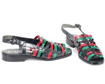 US women 9.5 Woven Sandals Unworn Vintage 80s Leather Sandals Green Red Black Summer Flats Multi Strap Open Toe Mules Hipster . Eur 40 UK 7