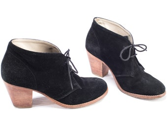 Black Suede Ankle Boots 90s Lace Up Cone Heel Wide Fit Booties Heeled Vintage BODEN Boots Casual Leather Sole Boots US 10 Eu 41 UK 7.5