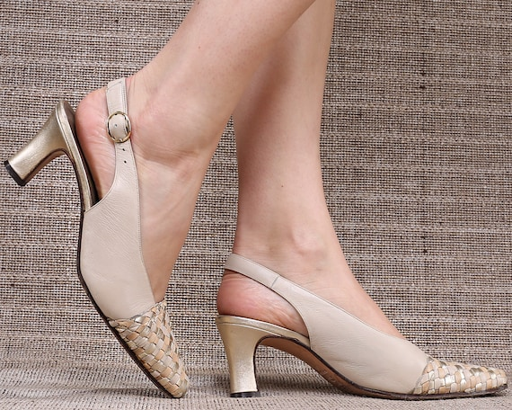 US 9 Slingback Beige Heels 80s Leather Braided Cap Toe Luxury Shoes Woven Beige Gold Leather Sole Back Strap Shoes . EUR 39.5 UK 6.5
