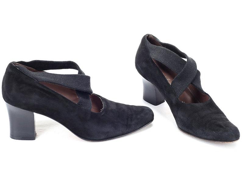 7251ce3142683 US size 6.5 FLAPPER Shoes 80s Vintage Criss Cross Strap Black