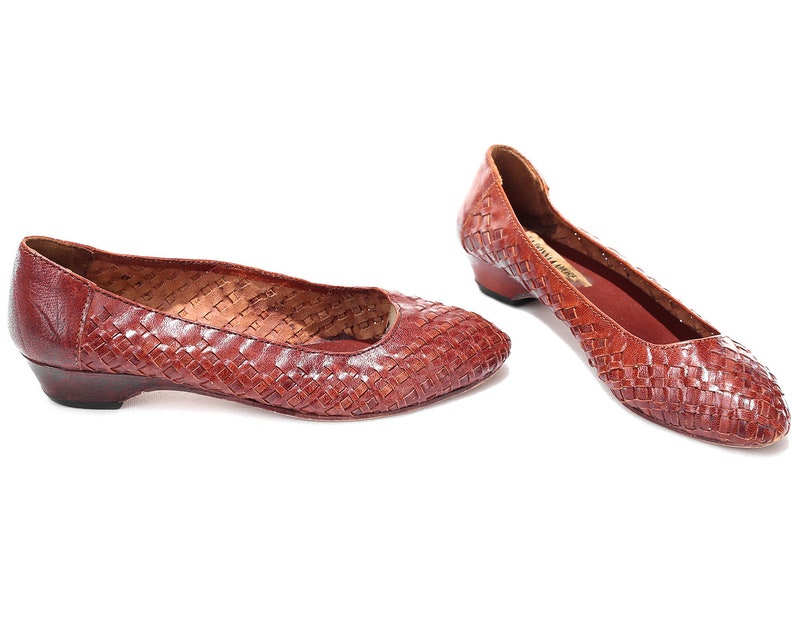 4b812d218f5ca US 7.5 Braided Leather Shoes Woven Ballerinas 80s Leather Flats Vintage  Granny Shoes Retro Style Slide On Shoes Brown Retro . EUR 38 UK 5