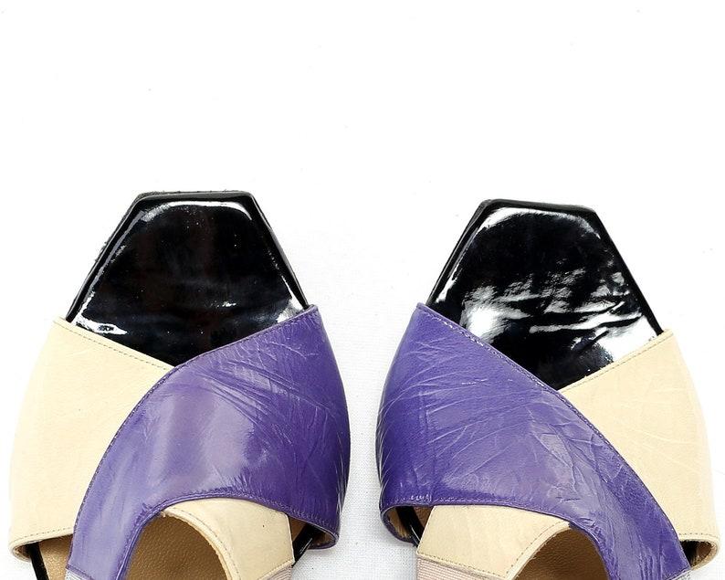 6f5fd298dc9b2 US size 5 Muxart Sandals 90s Vintage Designer Cone Heel Shoes Multicolored  Heels Leather Sandals Purple Black Beige Sandal . Eur 35 UK 2.5