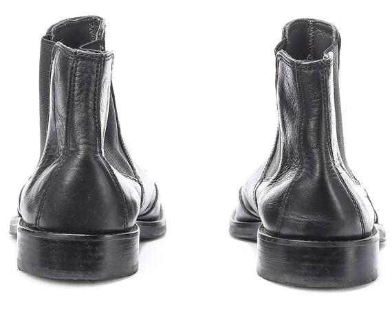 noir Beatle bottes demi bottes Cowboy Chelsea chaussons Western femmes Hipster Eur Fit s large harnais vrai 40 Uk 7 5 cuir Vintage 5 9 US 90 Ew08q