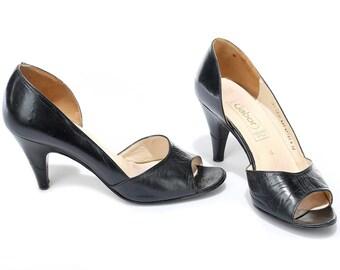 US women 6.5 Vintage Black Heels Classic Elegant Heels with Open Toe Vintage Leather Footwear 80s Ladies Formal Heels . Eur 37 Uk 4