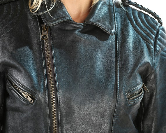 Moto Jacket Black Punk Medium Leather Unisex Stretchy Belted Vintage 80s Rocker Biker Leather Warm Jacket Motorcycle Jacket Waist Jacket YwT4F