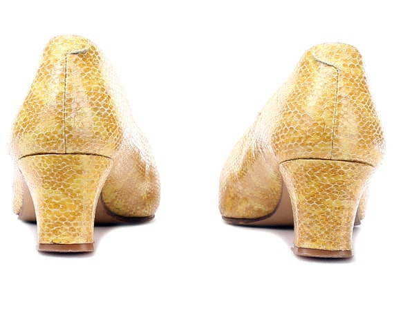 Yellow Quality UK Pumps Vintage women US Patterned Her Shoes Italian Snakeskin 5 39 Midi Leather Pumps 80s Heels Heel Retro Gift 8 For 6 EUR 7xZPZnw